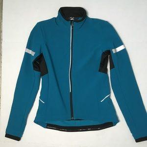 REI Cycles Womens Aqua Blue Reflective Rain Jacket